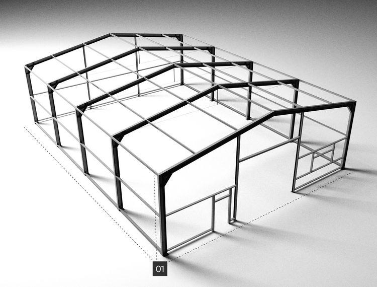 Relativ Größe und Ausstattung SELECT Stahlhallen von HALTEC KS47